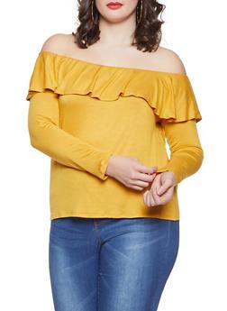 Plus Size Off the Shoulder Top - 1917074280601