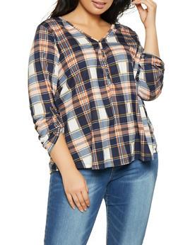 Plus Size V Neck Plaid Shirt - 1917074284010