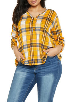 Plus Size V Neck Plaid Shirt - 1917074284010
