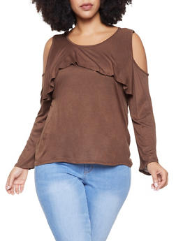 Plus Size Ruffled Cold Shoulder Top - 1917074284011