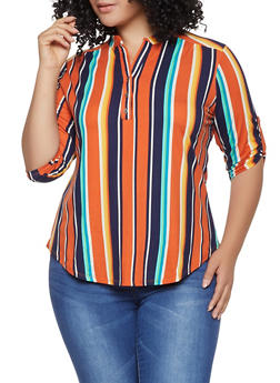Plus Size Half Button Striped Shirt - 1917074285001
