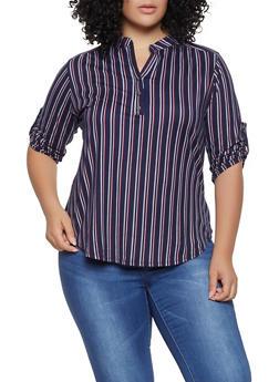 Plus Size Striped Soft Knit Shirt - 1917074285003