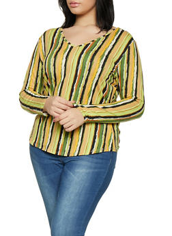 Plus Size Long Sleeve Striped Tee | Olive - 1917074285051