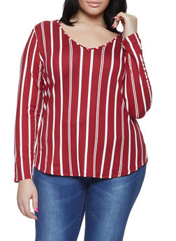 Plus Size Striped V Neck Tee - 1917074285501
