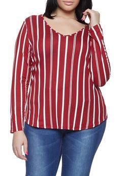 Plus Size Striped V Neck Tee - 1917074285501