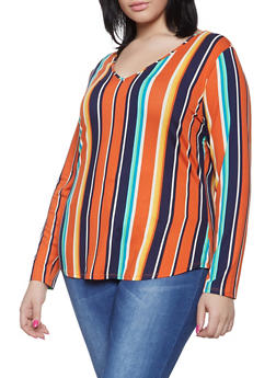 Plus Size Long Sleeve Multi Stripe Tee - 1917074285551