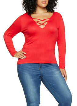 Plus Size Caged Long Sleeve Tee - 1917074286000