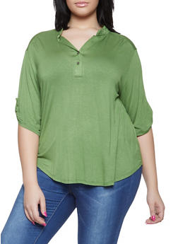 Plus Size Tabbed Sleeve Henley Shirt - 1917074286002