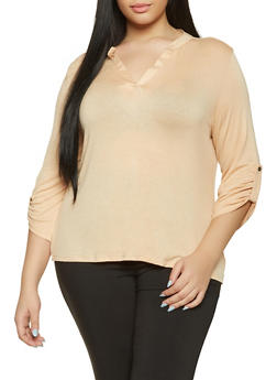 Plus Size Tabbed Sleeve Top - 1917074286003
