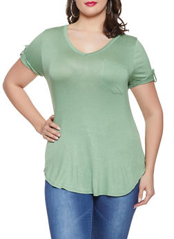 Plus Size Tabbed Sleeve V Neck Tee - 1917074286004
