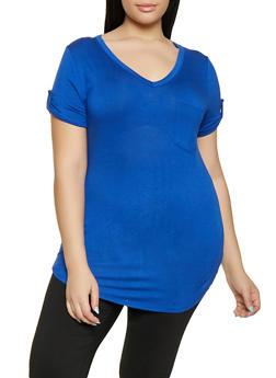 Plus Size Tabbed Sleeve V Neck Tee - 1917074286004