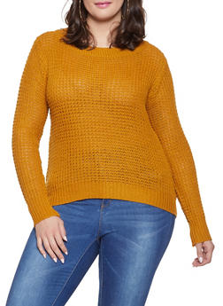 Plus Size Long Sleeve Sweater - 1920038348104