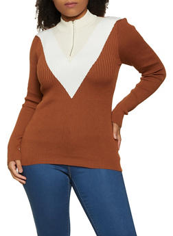 Plus Size Chevron Zip Neck Sweater - 1920051060139