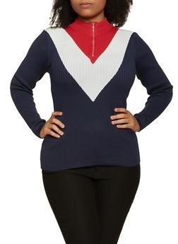 Plus Size Chevron Zip Neck Sweater - 1920051060139