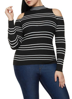 Plus Size Cold Shoulder Striped Sweater - 1920051060195