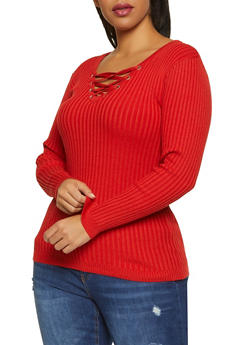 Plus Size Lace Up Ribbed Knit V Neck Sweater - 1920051060208
