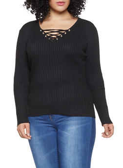 c00a0130a13 Plus Size Lace Up Sweater - 1920051068666