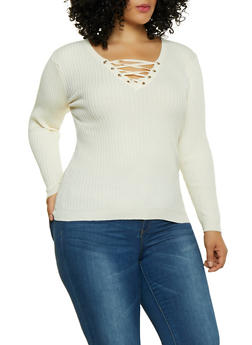 Plus Size Lace Up Sweater - 1920051068666