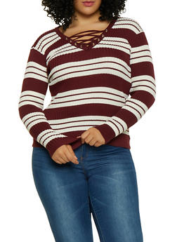 Plus Size Striped Lace Up Sweater - 1920051068756