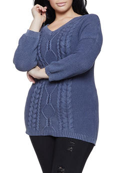 Plus Size Knit V Neck Sweater - 1920051930017