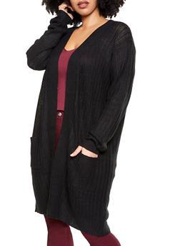 Plus Size Two Pocket Long Sleeve Cardigan - 1920054261437