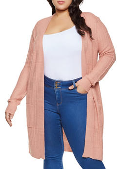 Plus Size Two Pocket Long Sleeve Cardigan - 1920054261437