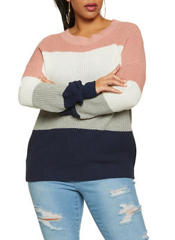 Plus Size Knit Color Block Sweater - 1920054261488