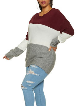 Plus Size Color Block Sweater - 1920054261491