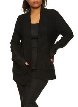 Plus Size Knit Two Pocket Cardigan - 1920054263347