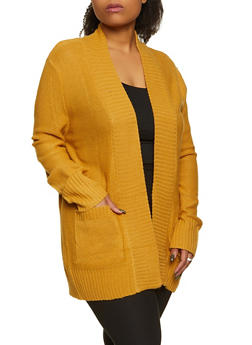 Plus Size Knit Two Pocket Cardigan - 1920054263347