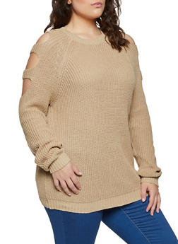 Plus Size Caged Sleeve Knit Sweater - 1920054265921
