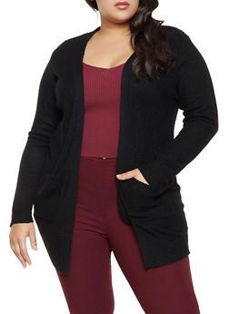 Plus Size Knit Long Sleeve Cardigan - 1920054266840