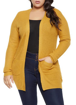 Plus Size Knit Long Sleeve Cardigan - 1920054266840