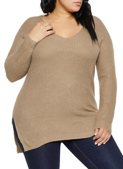 Plus Size Caged V Back Sweater - 1920054266882
