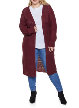 Plus Size Long Knit Cardigan - 1920054267818