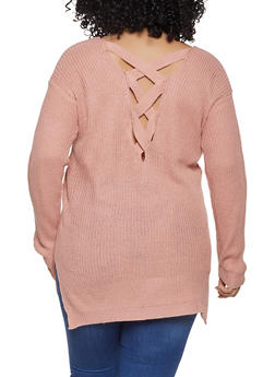 Plus Size Lace Up Back Sweater - 1920054268882