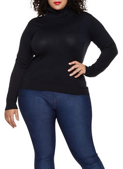 Plus Size Solid Turtleneck Sweater - 1920062700192