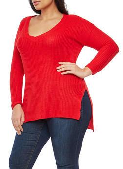 Plus Size Long Sleeve V Neck Sweater - 1920074051149