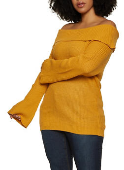 Plus Size Off the Shoulder Long Sleeve Sweater - 1920074051410