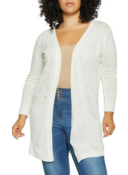 Plus Size Faux Pearl Open Front Cardigan - 1920074051680
