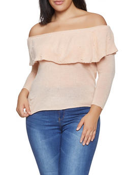Plus Size Off the Shoulder Faux Pearl Studded Sweater - 1920074051681