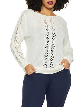 Plus Size Faux Pearl Pointelle Sweater - 1920074051682