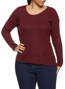 Plus Size Long Sleeve Sweater - 1920074051851