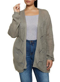 Plus Size Braided Detail Cardigan - 1920074051857