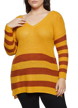 Plus Size Striped Caged Back Sweater - 1920074051865