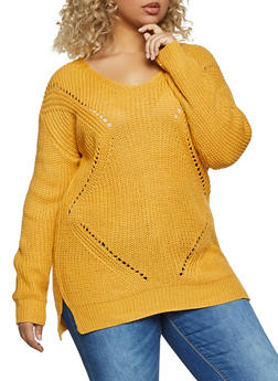 Plus Size Caged Back Perforated Detail Sweater - 1920074051867