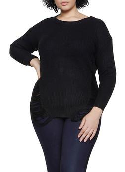 Plus Size Distressed Tunic Sweater - 1920074052465