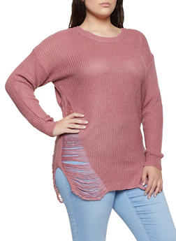 Plus Size Distressed Tunic Sweater - 1920074052465