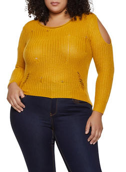 Plus Size Cut Out Shoulder Distressed Sweater - 1920074052854