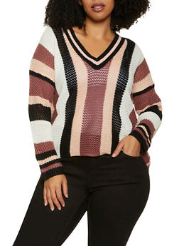 Plus Size V Neck Striped Knit Sweater - 1920074052858